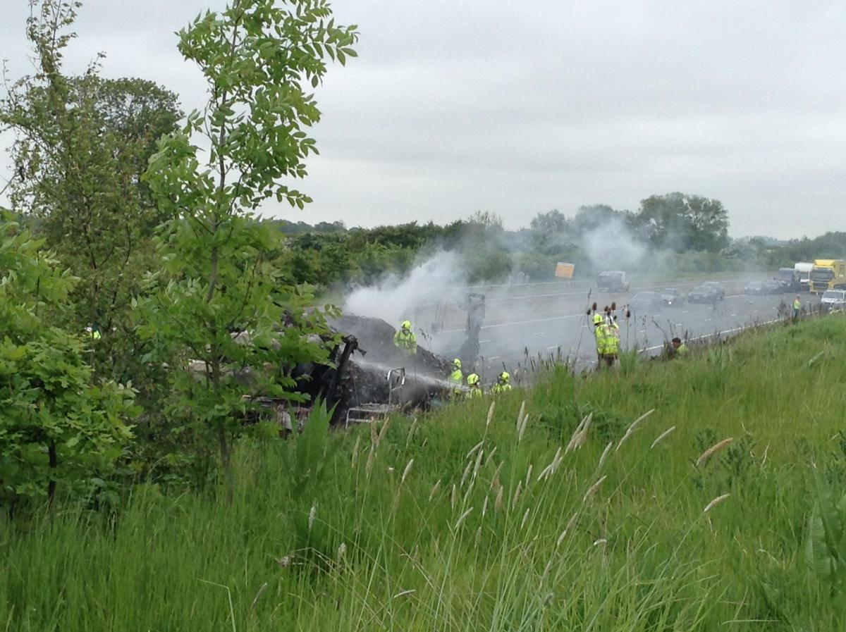 CRASH: The wreckage on the A1