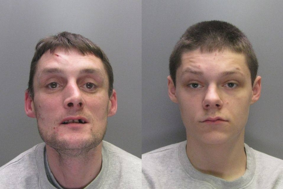 JAILED: Edward Miller, left, and Austin Thompson, right