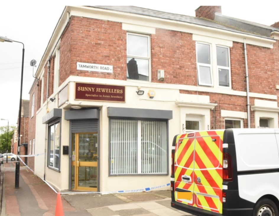 More than £100,000 worth of jewellery was taken from Sunny Jewellers in Tamworth Road, Newcastle