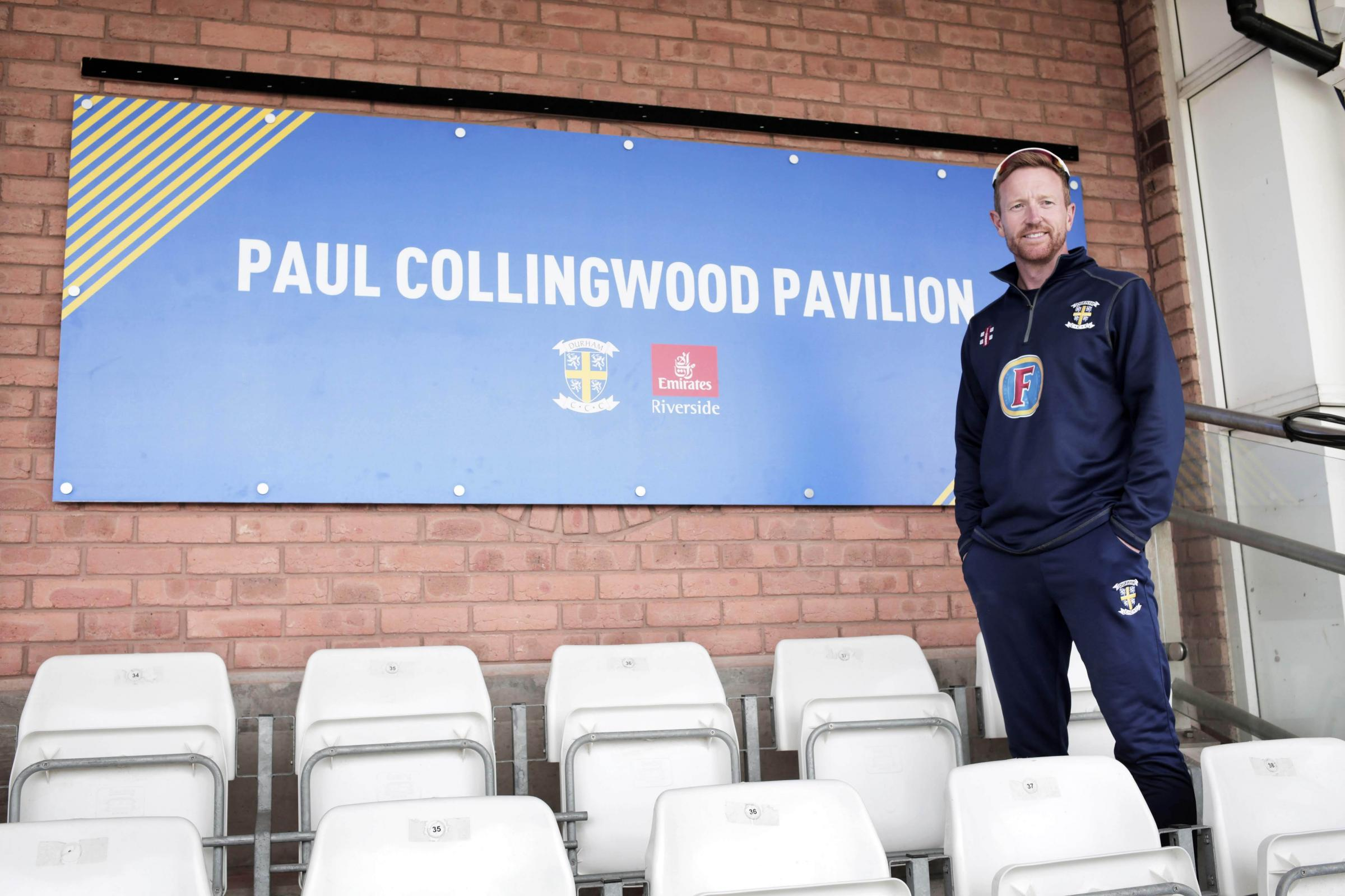 Paul Collingwood unveils the new Paul Collingwood Pavilion at the Emirates Riverside in Chester le Street. Photograph by Stuart Boulton..