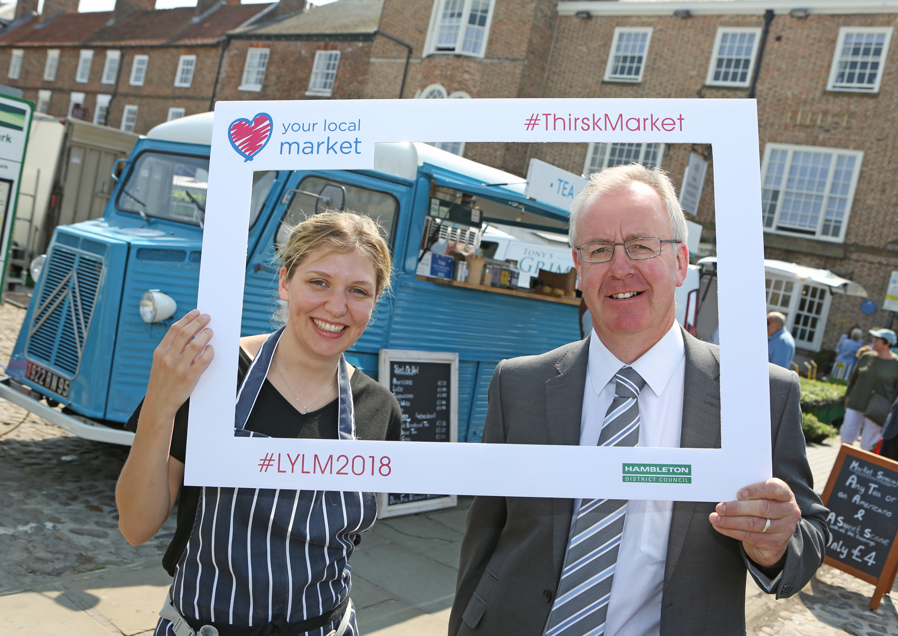 Councillor Robson is pictured with Thirsk trader, Rosa Fothergill of Tea Time Yorkshire