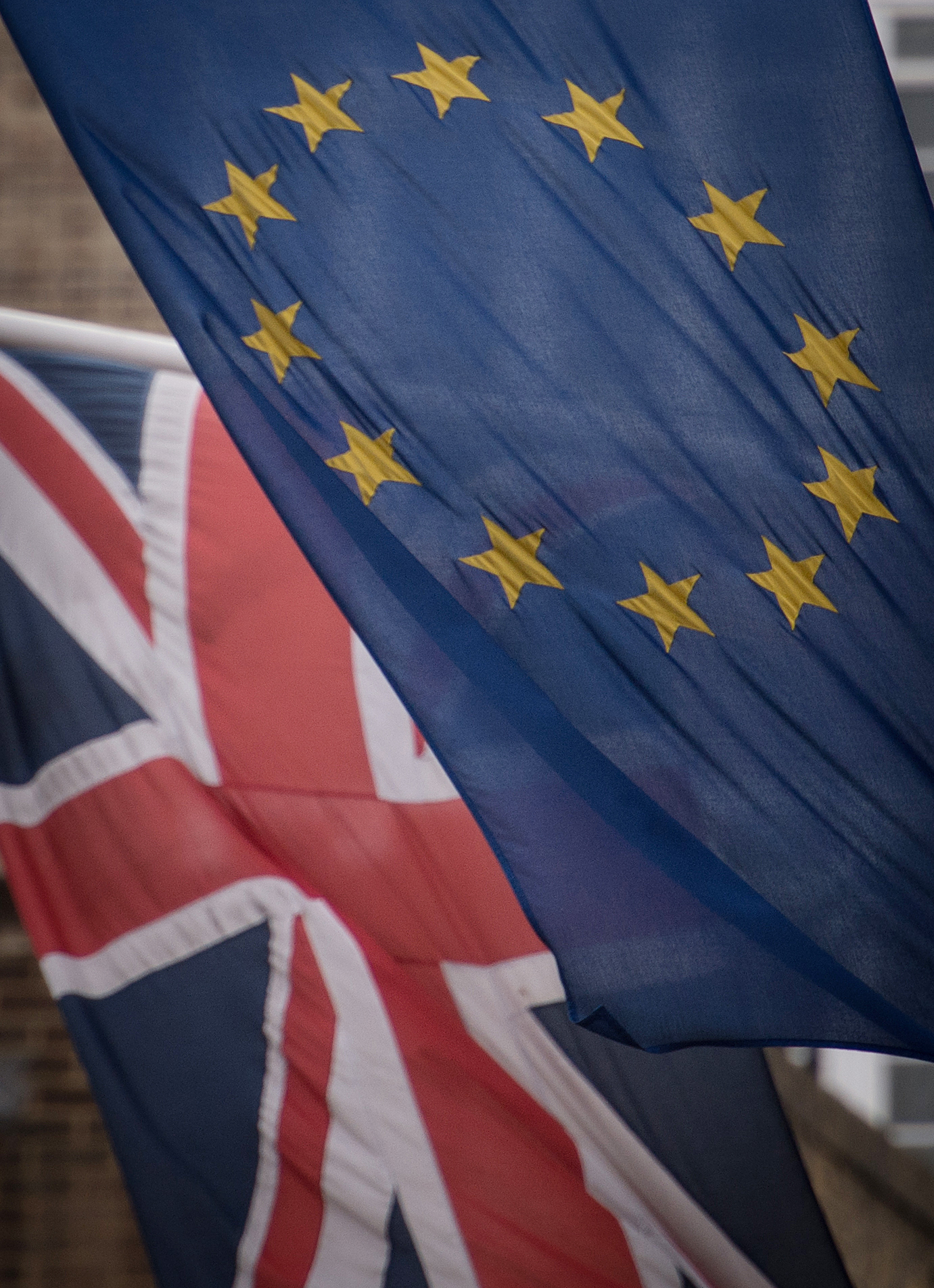 Embargoed to 1300 Thursday May 24File photo dated 17/02/2016 of EU and UK flags flying. The UK may be forced to remain in the EU's customs union beyond 2020 because of the Government's failure to set out alternative plans, MPs have said. PRESS ASS