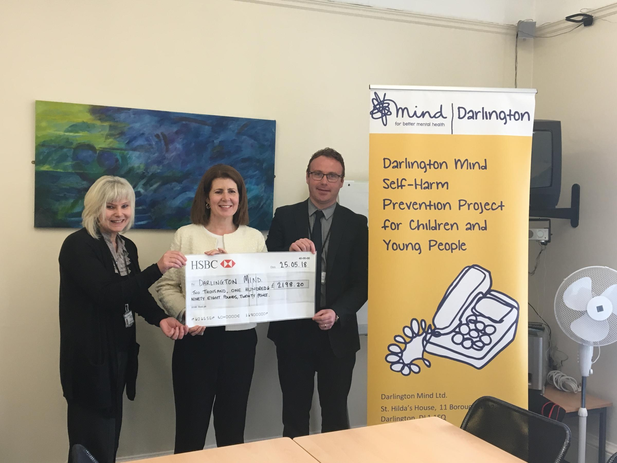Darlington MP Jenny Chapman raised more than £2,000 to support the town's MIND charity