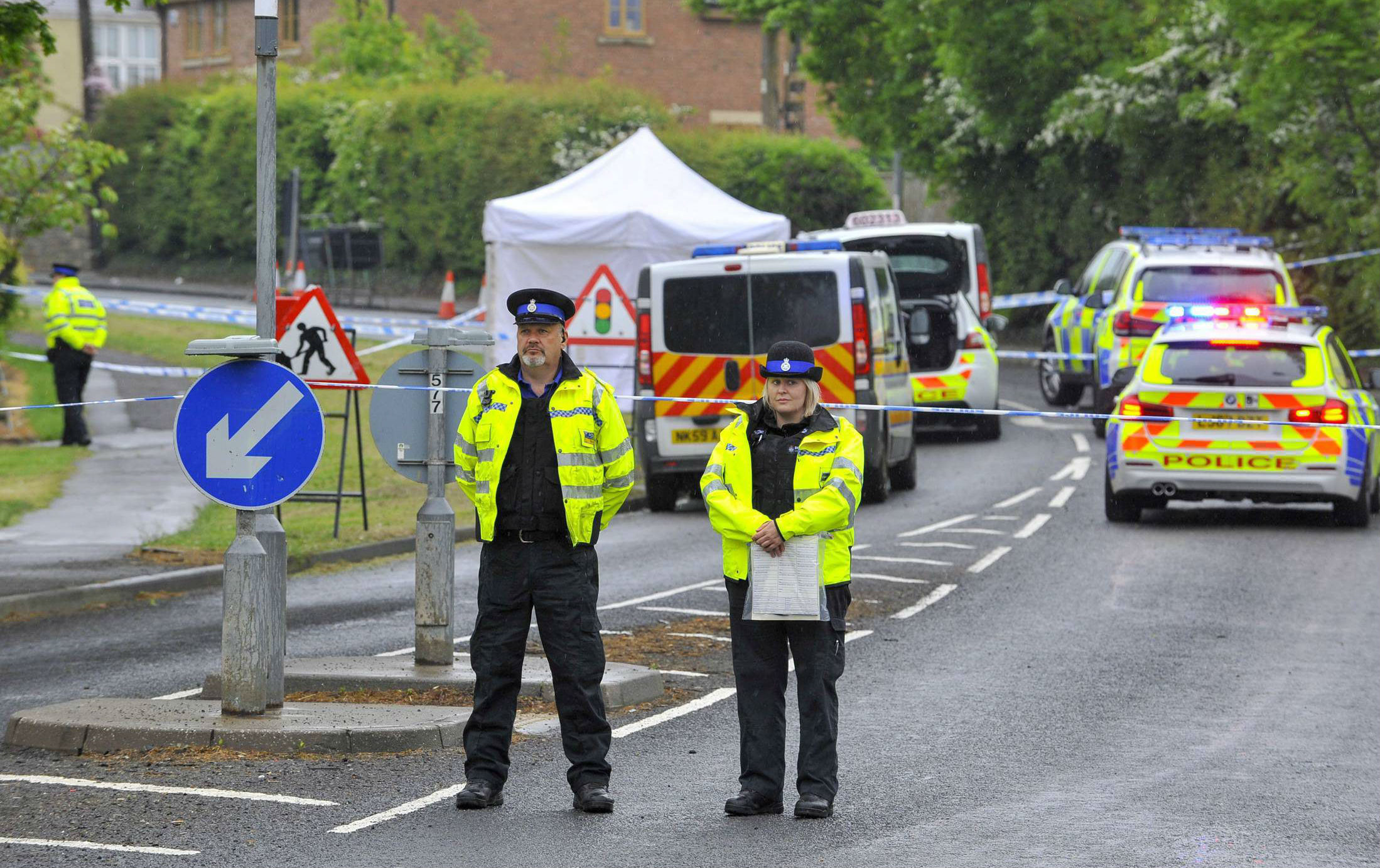 Police at the scene in Bishop Auckland. Picture: North News