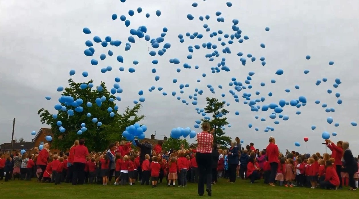 TRIBUTE: 400 blue balloons were released into the sky by children at Skerne Park Academy