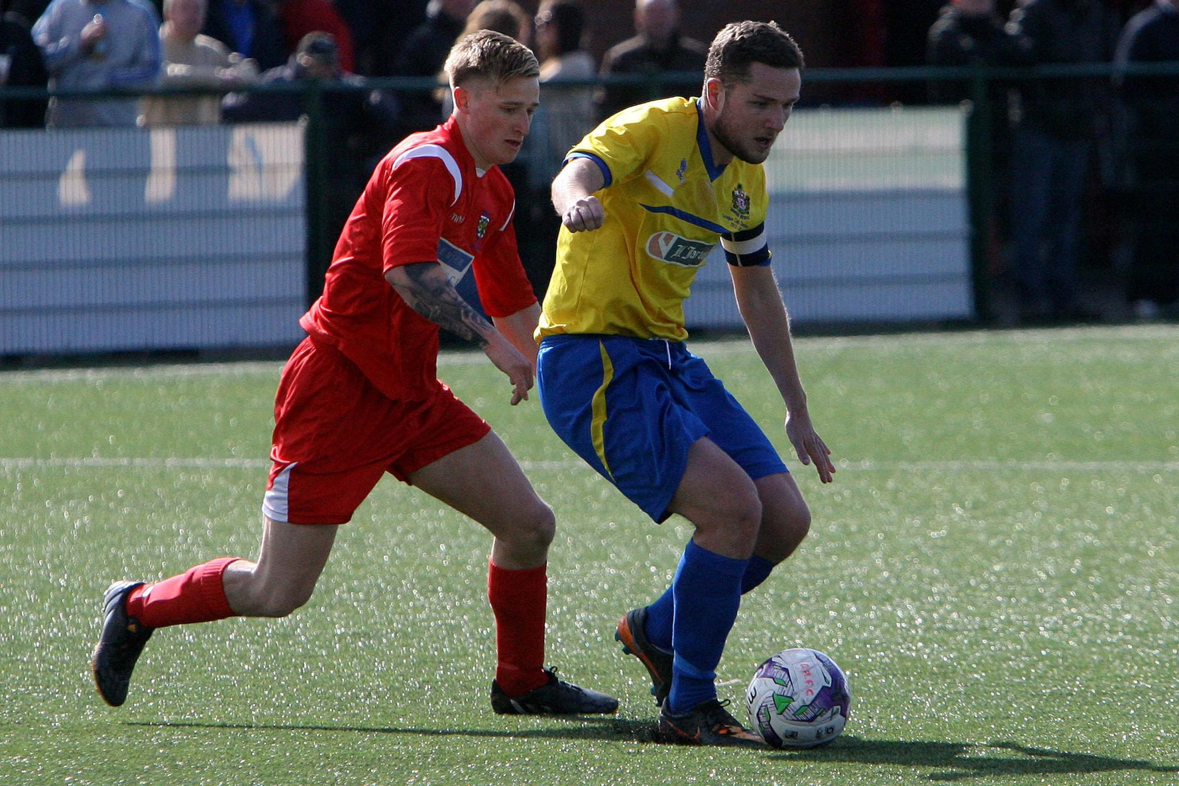 TOP PLAYER: Marske United's Craig Gott (right). Picture: DAVID WOOD