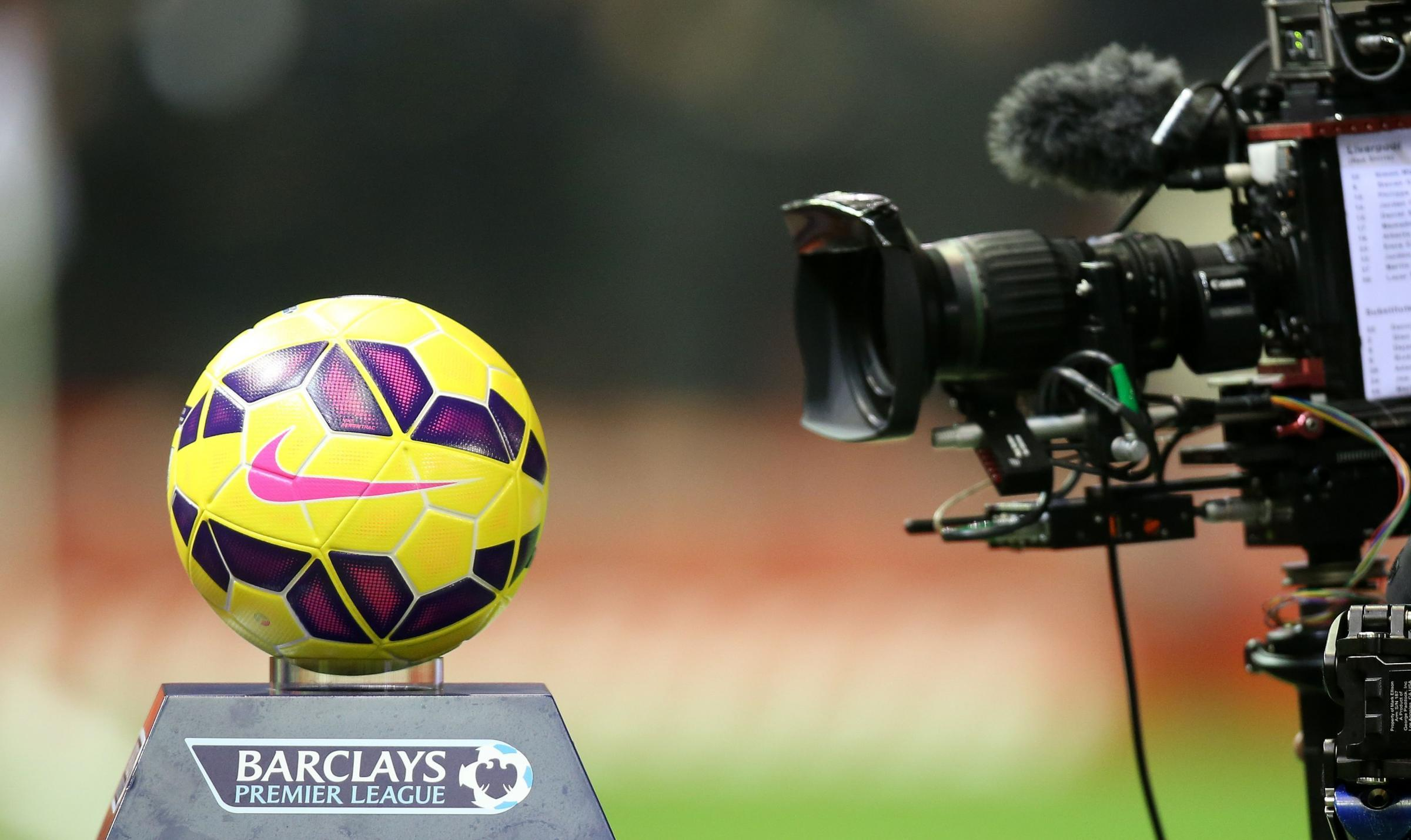 A TV camera filming a close up of a Premier League football. Picture: PA