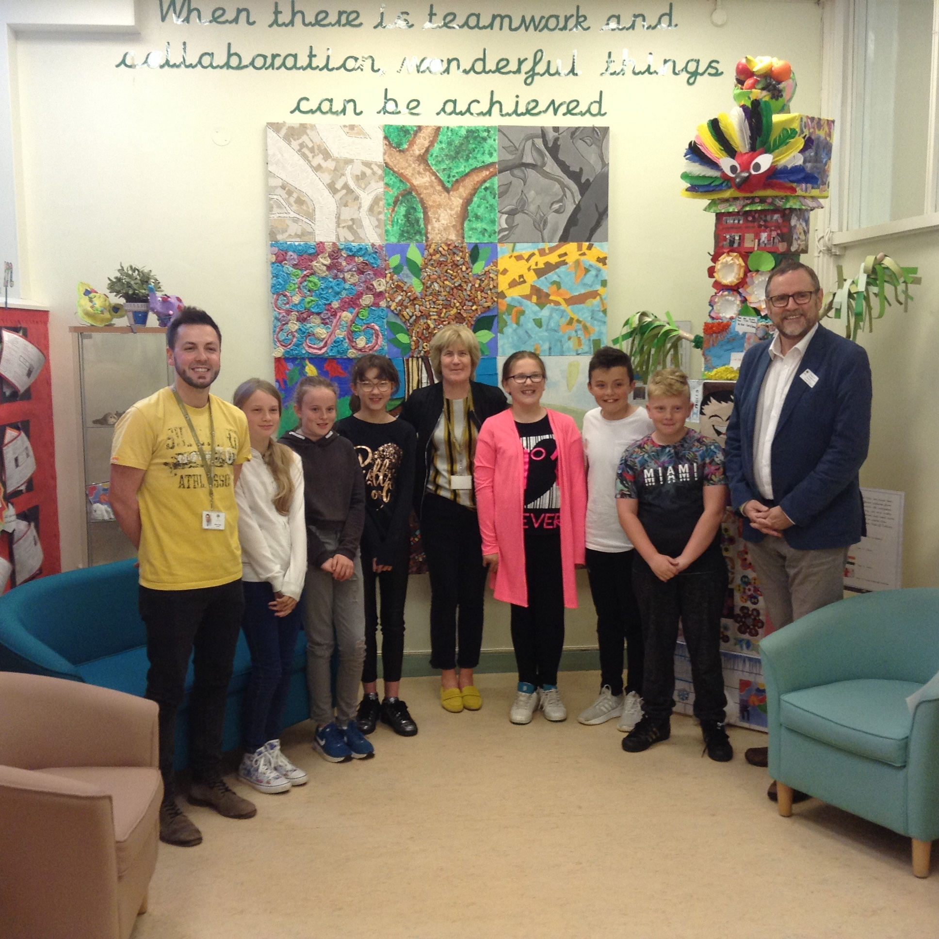 SHARE: Phil Wilson MP with pupils from Sugar Hill Primary School