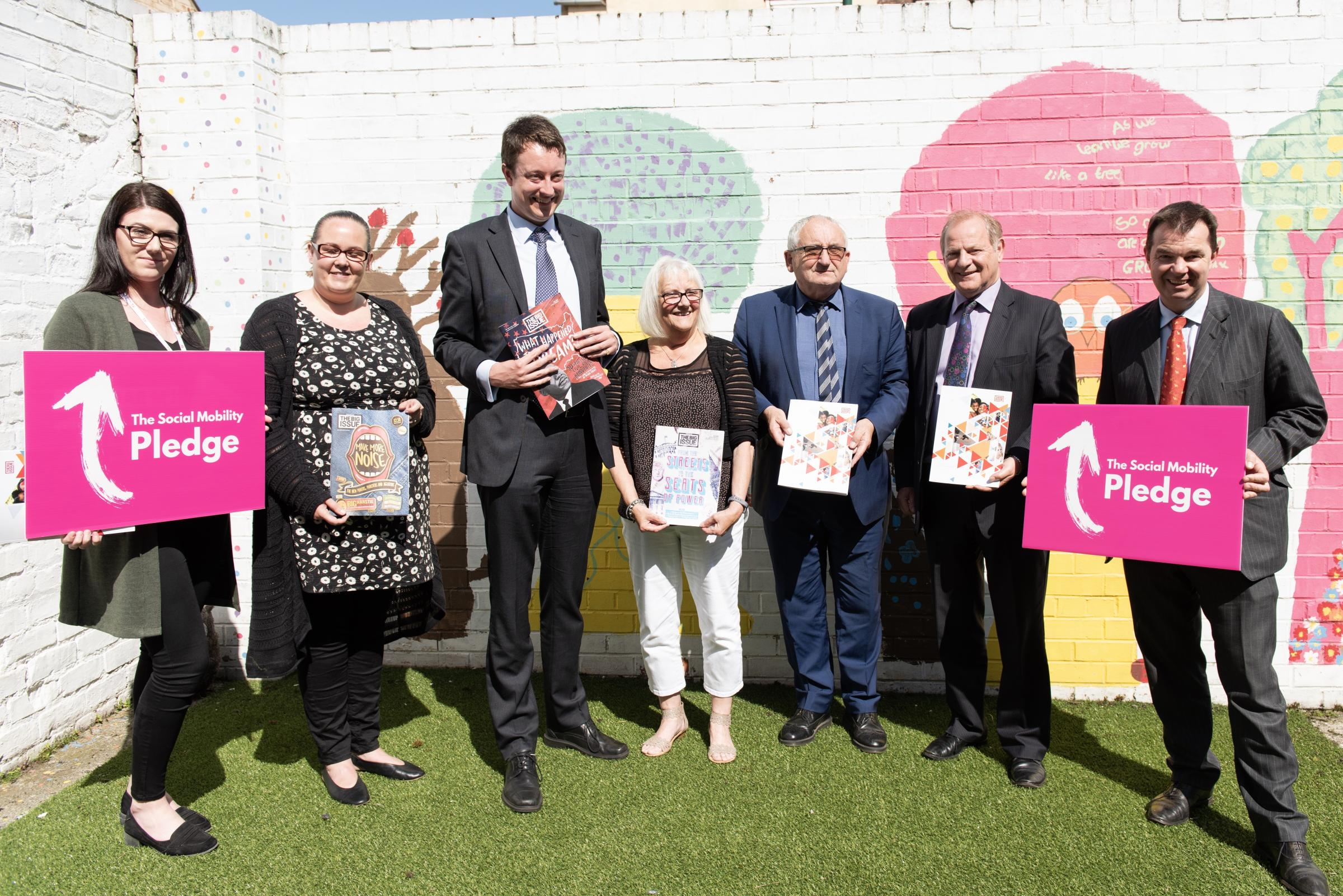 SUPPORT: MP Simon Clarke pictured with Lord John Bird, MP Guy Opperman and the team at The Link
