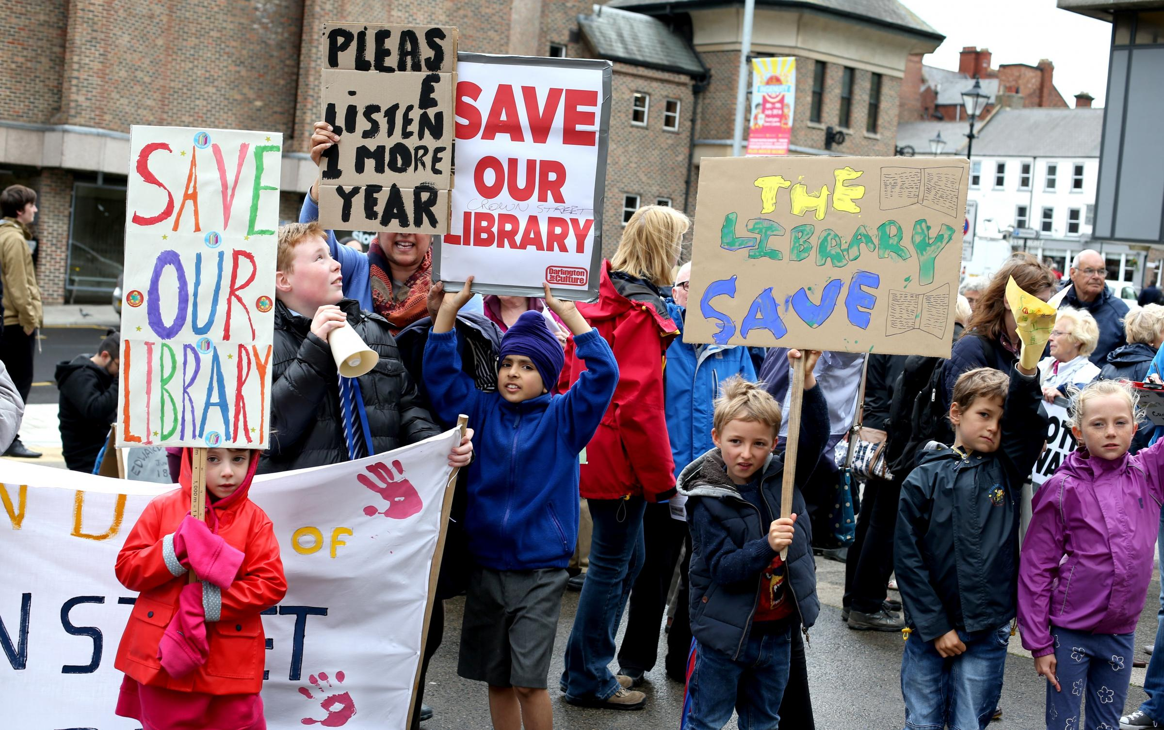 PROTEST: Protest organised by the Friends of Darlington Libraries to urge councillors to block Crown Street's closure and relocation to the Dolphin Centre. Picture: CHRIS BOOTH