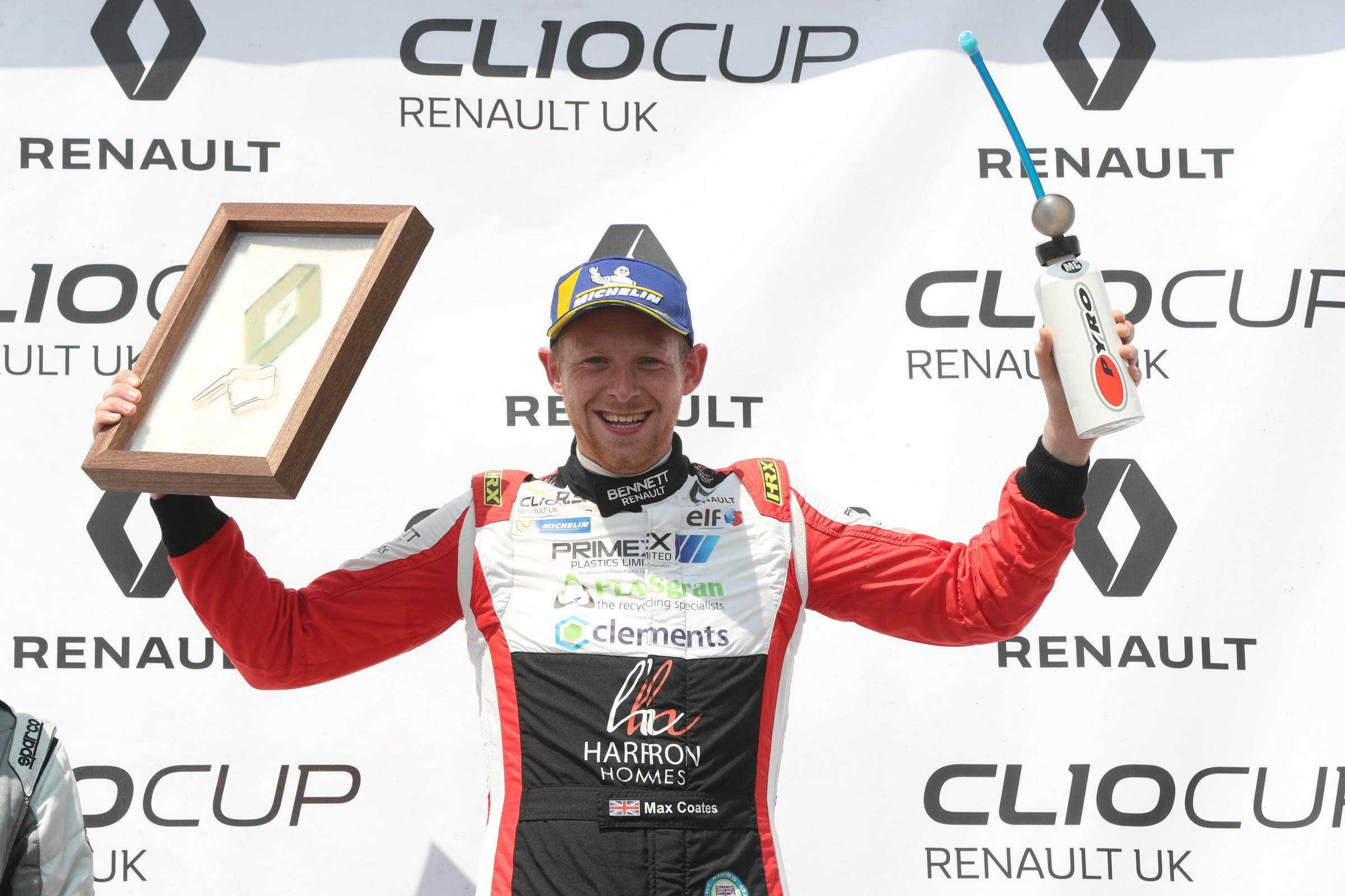 WINNING DRIVE: Max Coates celebrates his victory at Oulton Park (Picture: Jakob Ebrey)