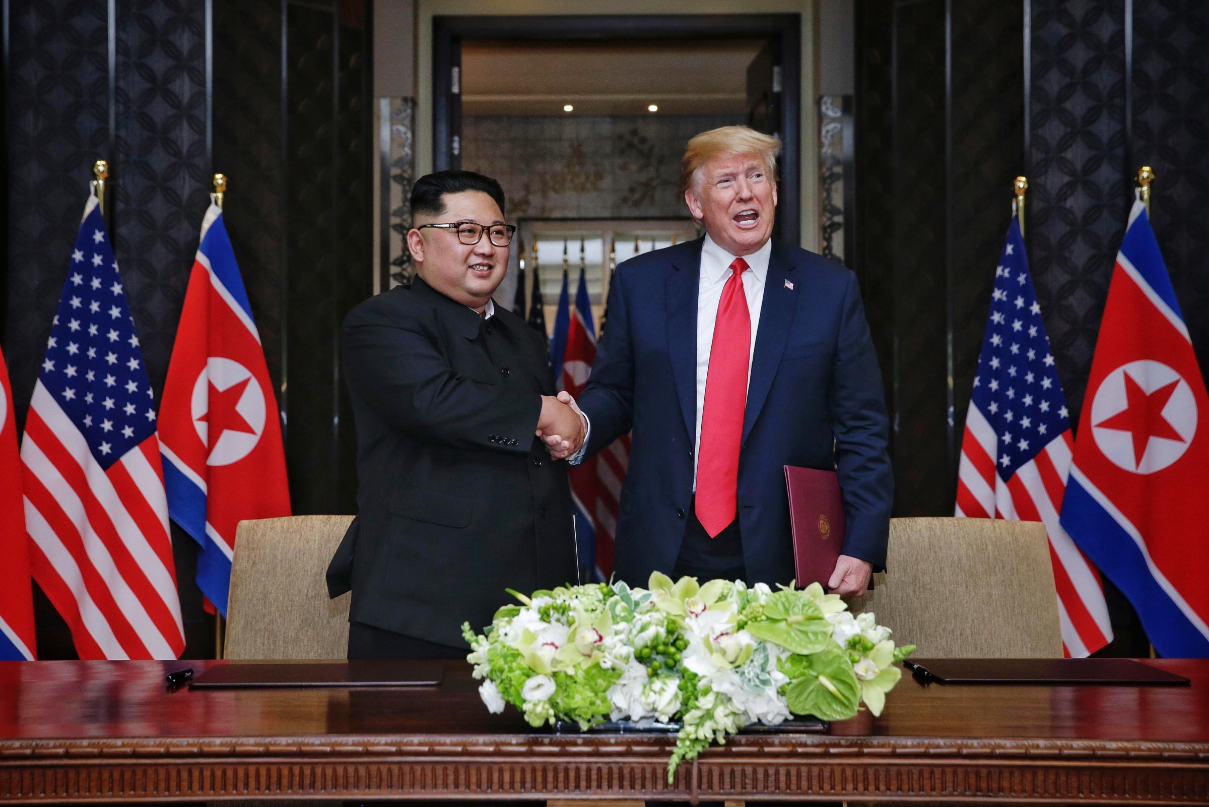 North Korea summit of a signing ceremony between US president Donald Trump and leader of North Korea, Kim Jong-un, at Capella, Singapore. Picture: Kevin Lim/The Straits Times/PA Wire