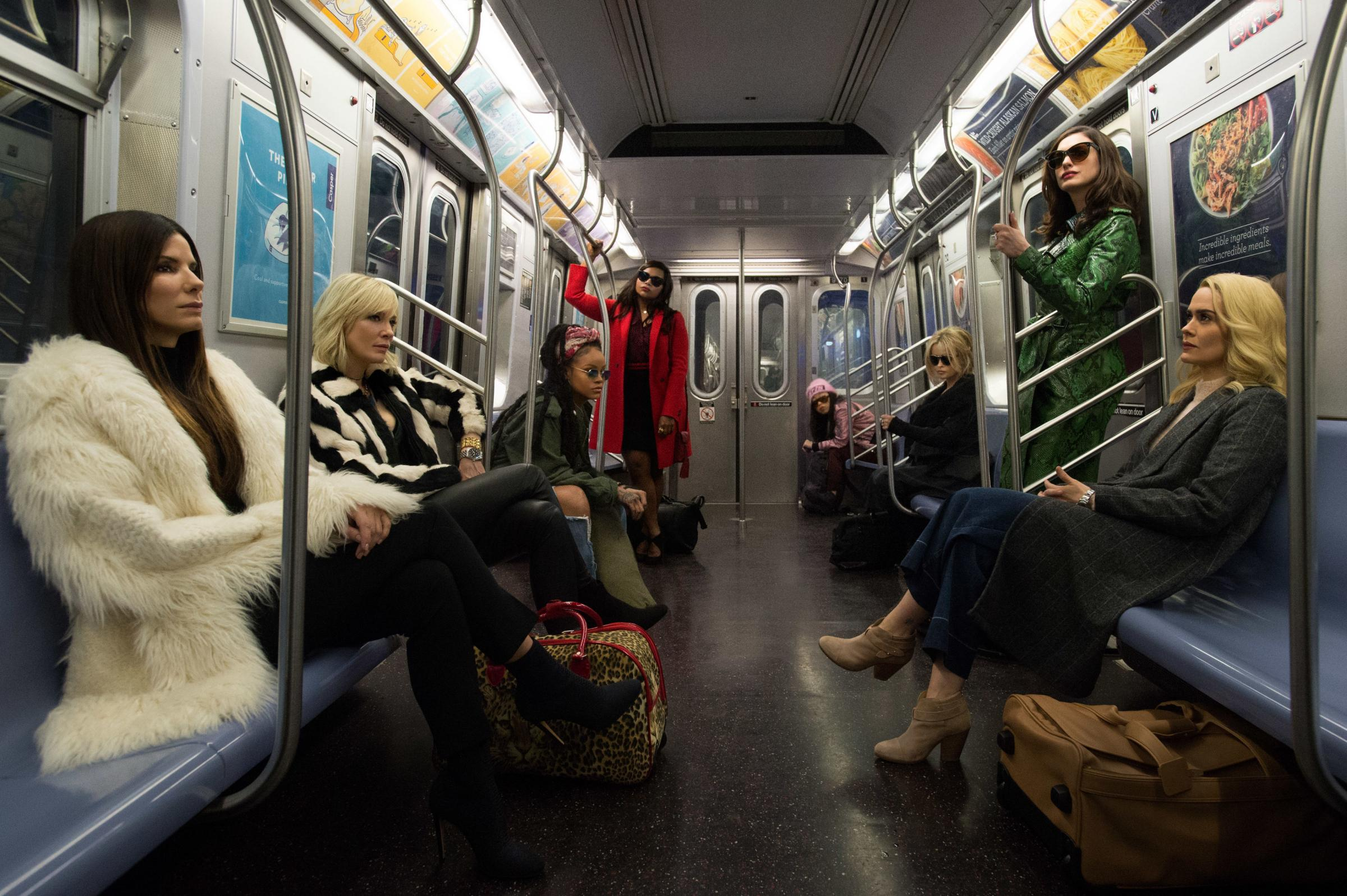 Ocean's 8. Pictured: Sandra Bullock as Debbie Ocean, Cate Blanchett as Cate, Rihanna as Nine Ball, Mindy Kaling as Amita, Awkwafina as Constance, Helena Bonham-Carter as Rose Weil, Anne Hathaway as Daphne Kluger and Sarah Paulson as Tammy