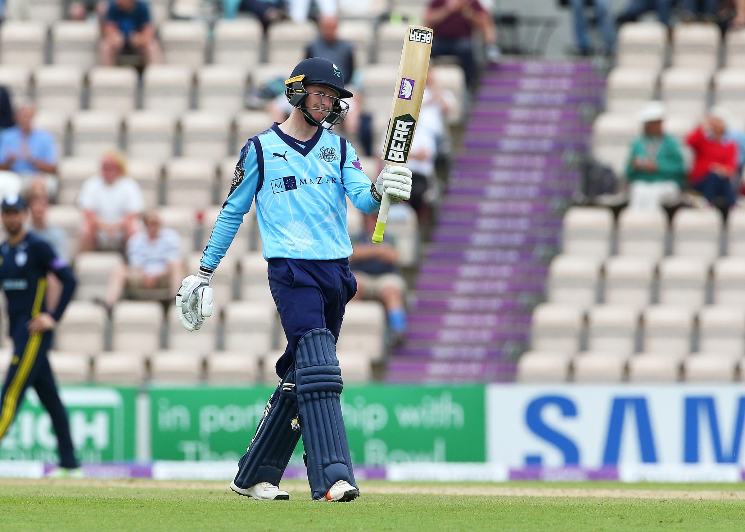 Yorkshire's Jonathan Tattersall raises his bat after reaching his half century during the Royal London One Day Cup, semi final at The Ageas Bowl, Southampton. PRESS ASSOCIATION Photo. Picture date: Monday June 18, 2018. See PA story CRICKET Hampshire.