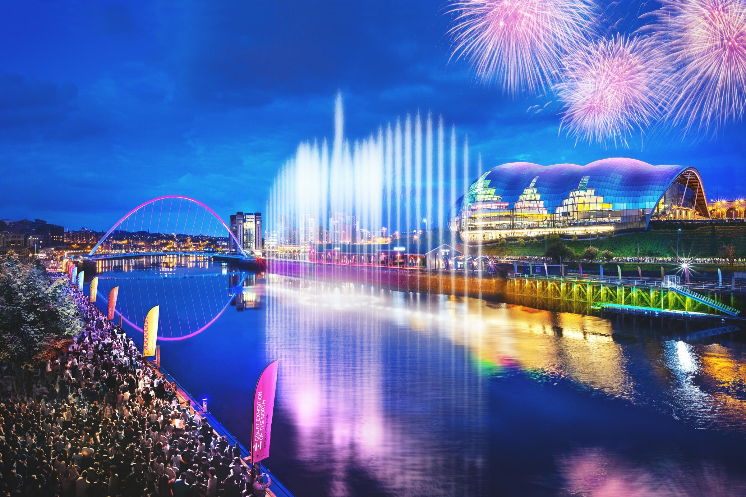 SPECTACULAR: The Great North Water Sculpture that shoots 80m-high spouts of water into the sky will perform every hour of every day for the course of the exhibition