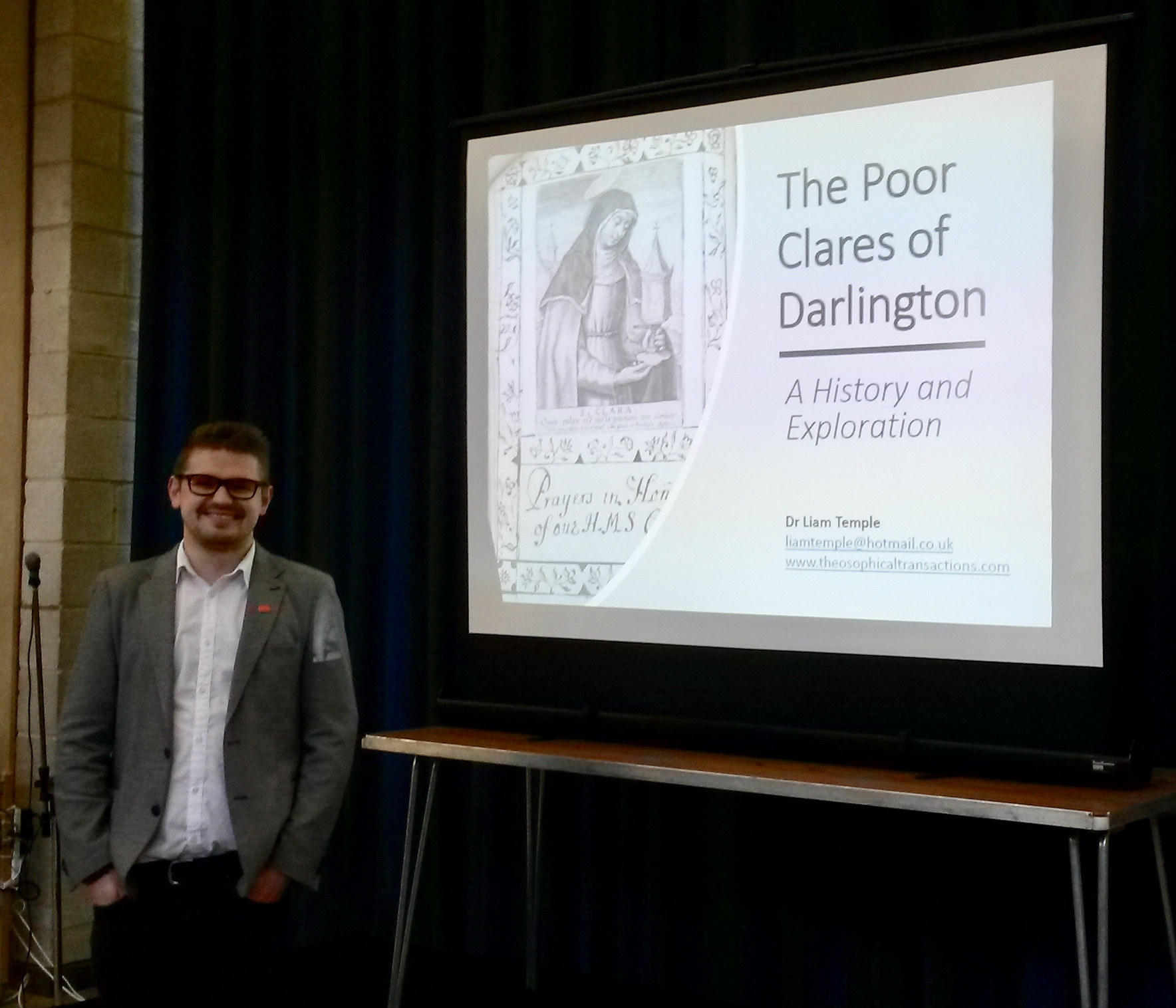 Dr Liam Temple spoke to an audience of 100 about his research into documents left with Durham University Library by the Poor Clares of Darlington