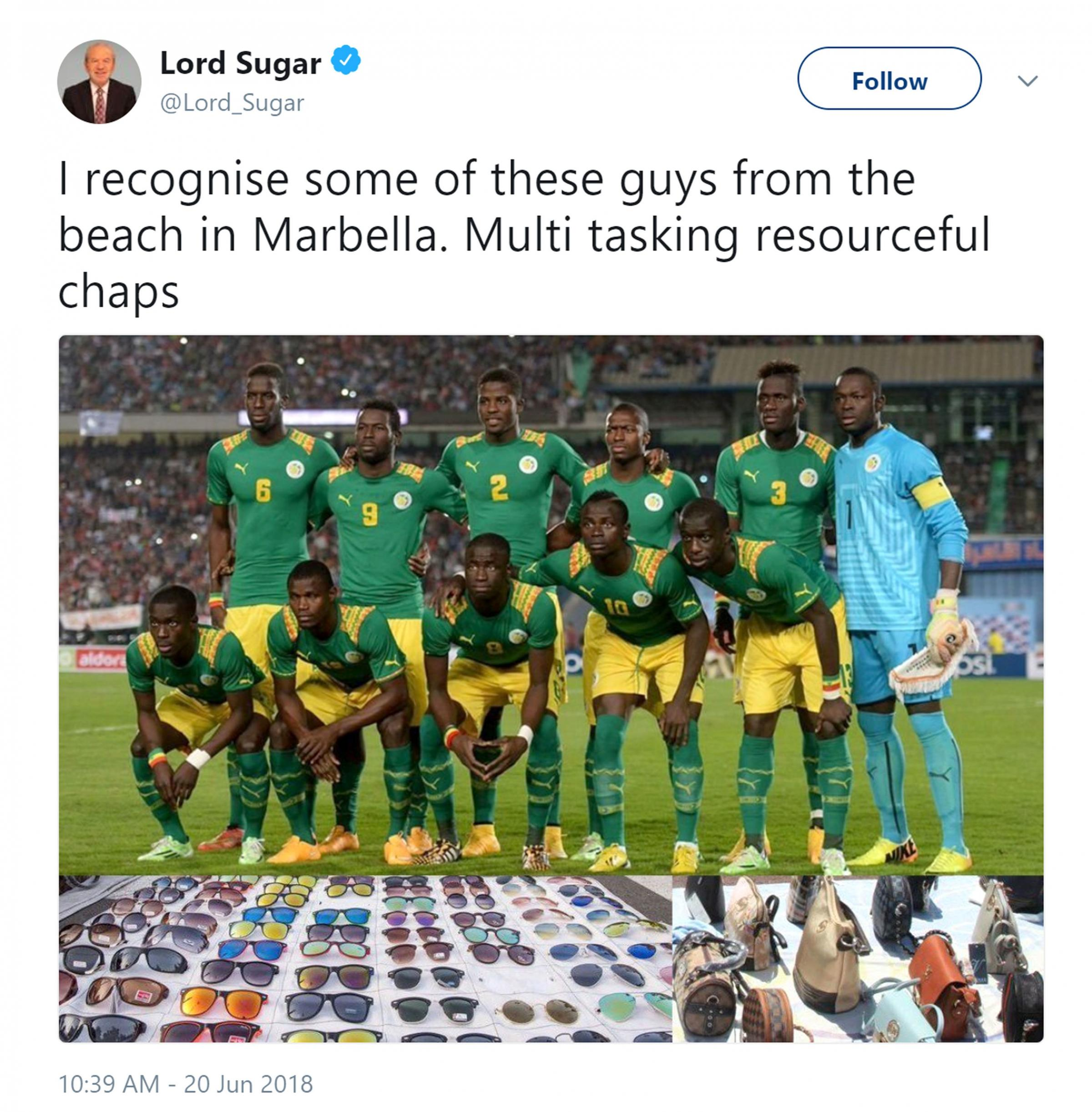 Picture  the twitter feed of @Lord_Sugar of a tweet which has since been deleted,