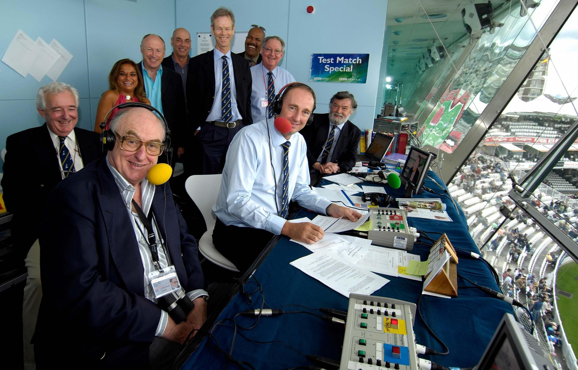 Jonathan Agnew, centre, and members of the BBC Radio Test Match Special team