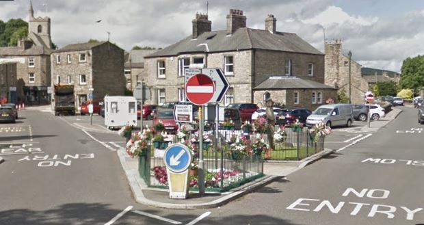 The one-way system in Hawes, Wensleydale