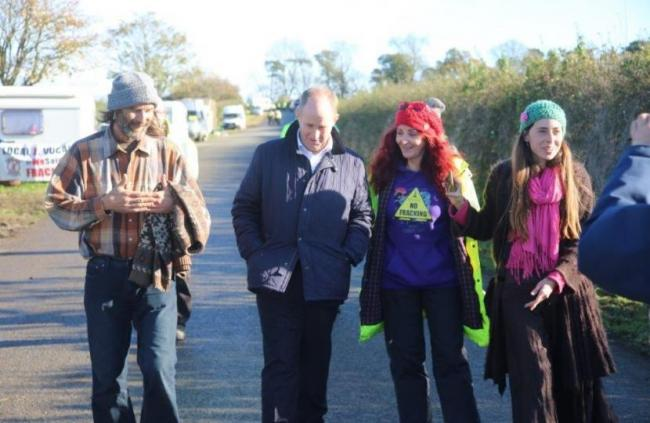 MP Kevin Hollinrake with protesters at the Kirby Misperton fracking site