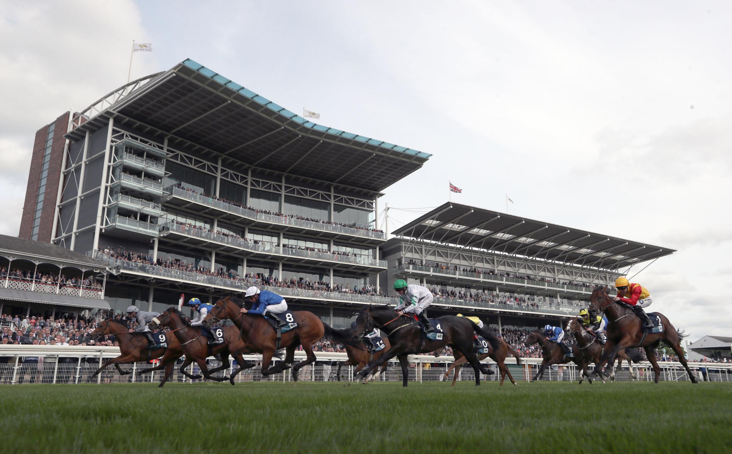 Main Desire ridden by Daniel Tudhope (far left, grey silks) wins the British Stallion Studs EBF Westow Stakes during day two of the 2018 Dante Festival at York Racecourse. PRESS ASSOCIATION Photo. Picture date: Thursday May 17, 2018. See PA story RACING Y