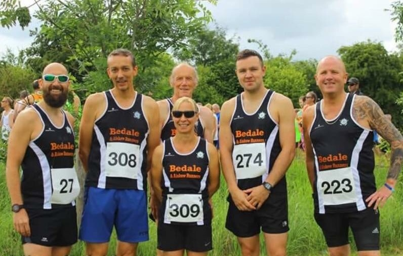 Bedale and Aiskew Runners at Newton Aycliffe 10K. From left to right: Paul Berry, Paul Simpson,Nicola Simpson, Raymond Lightle, Will Retchless and Alex McNairn