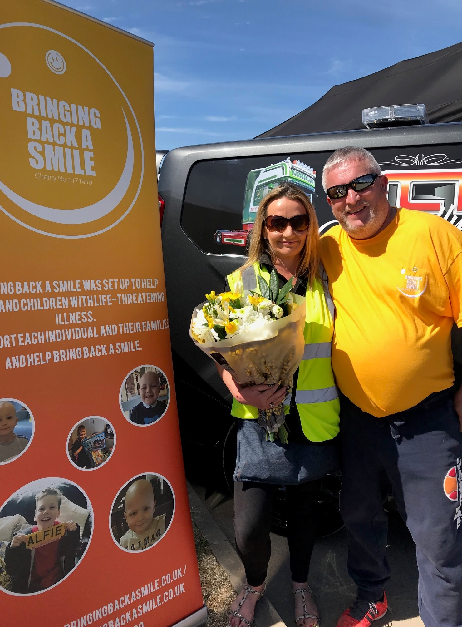 SUPPORT: Kevin Hill, of Bringing Back a Smile, at the Thirsk Truck Gathering with organiser Suzie Dodds
