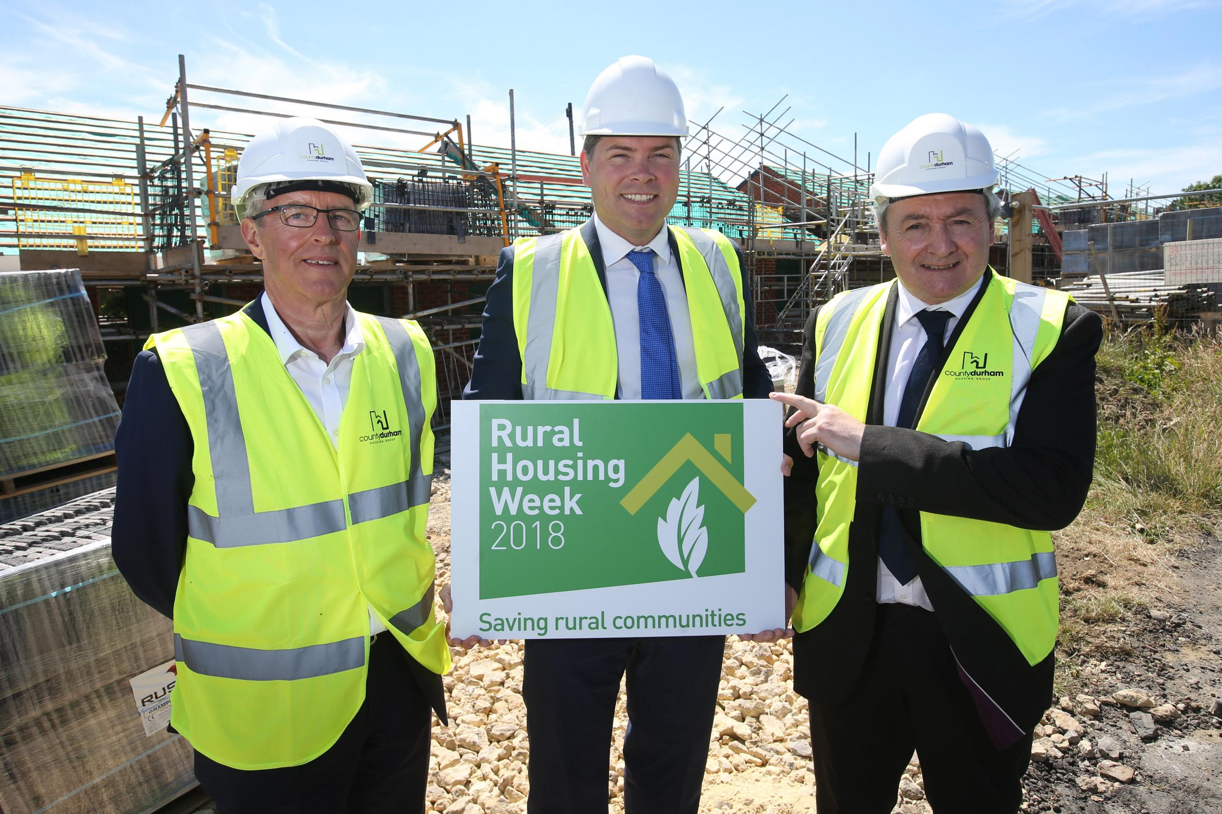 HOMES: Bill Fullen, Andrew Rennie and Councillor Kevin Shaw on the site of the new homes at Crook, County Durham