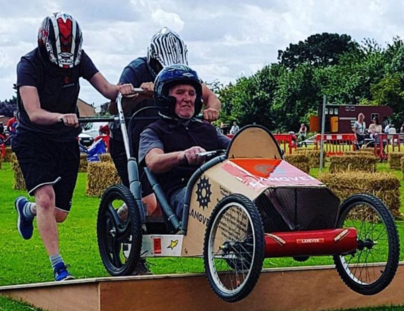 A team from Langver competes in the soapbox derby at Thirsk and Sowerby Festival