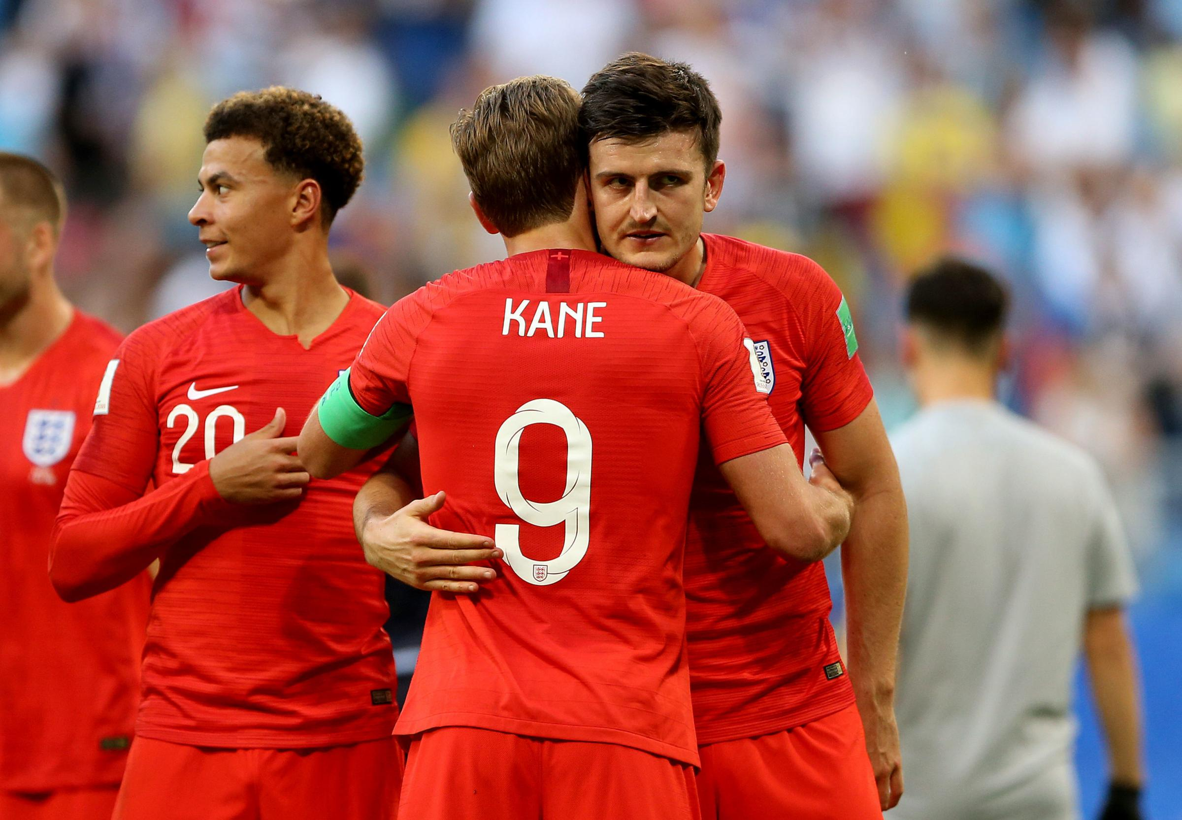 England's Harry Kane (centre) with England's Harry Maguire after the final whistle during the FIFA World Cup, Quarter Final match at the Samara Stadium. PRESS ASSOCIATION Photo. Picture date: Saturday July 7, 2018. See PA story WORLDCUP Sweden. Ph