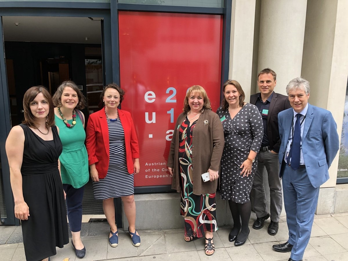 MISSION: From left to right, Bridget Phillipson, Jude Kirton-Darling, Catherine McKinnell, Sharon Hodgson, Anna Turley, Dr Paul Williams and Paul Brannen, pictured in Brussels