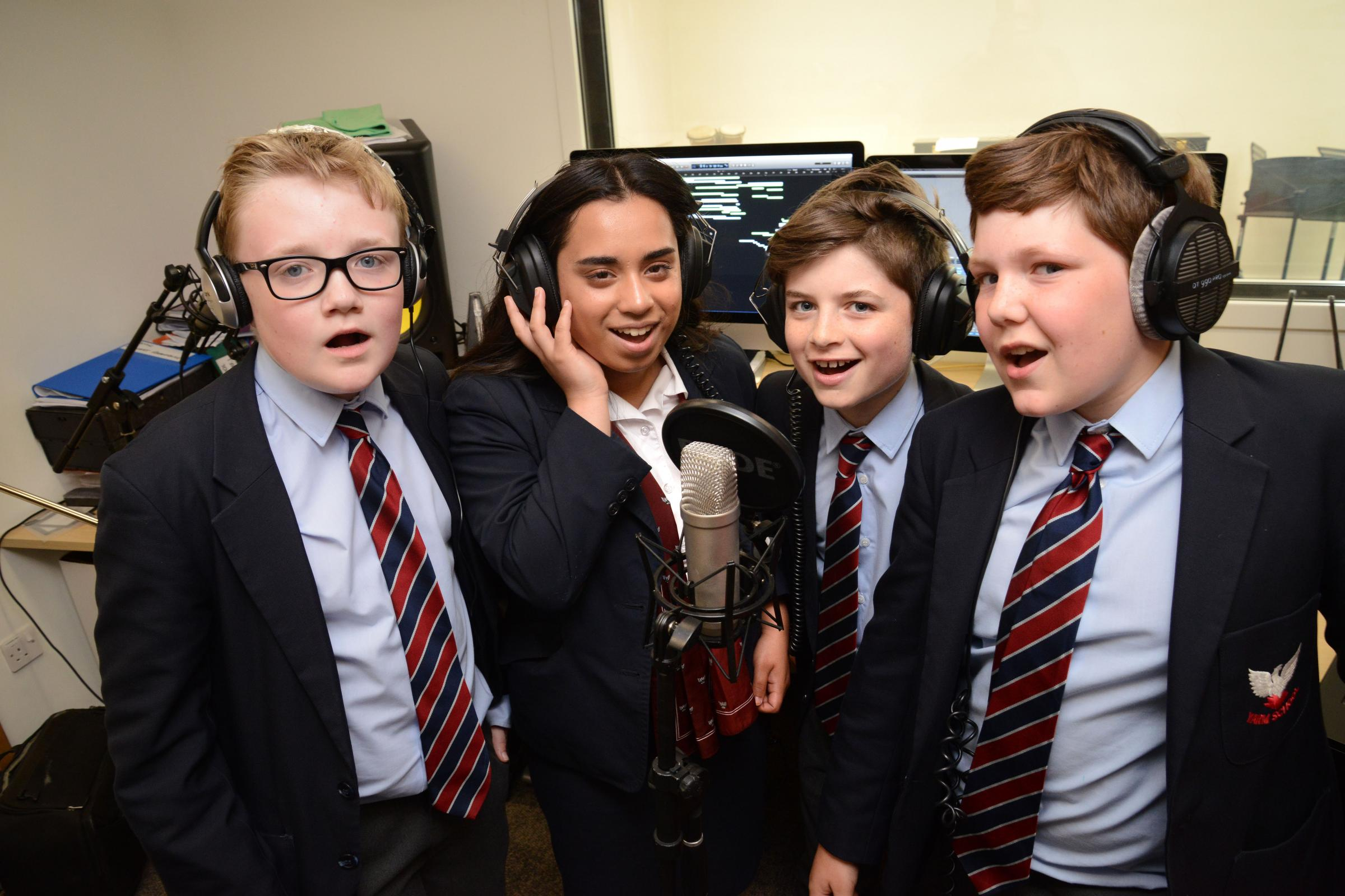 From left, Yarm School Charity Choir members Luke Porter, Jasmine Hoque, Callum Sanderson and Danny Scott