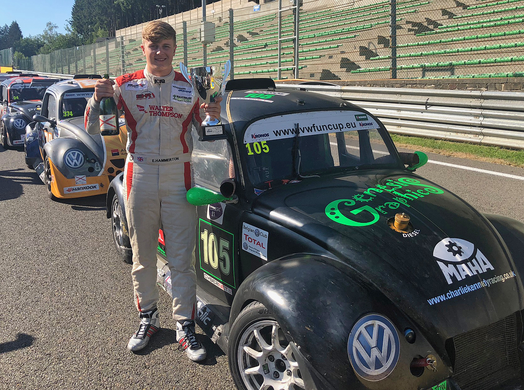 FAST: Young racing driver Ethan Hammerton with the VW Fun Cup Beetle he drove in the world's longest race