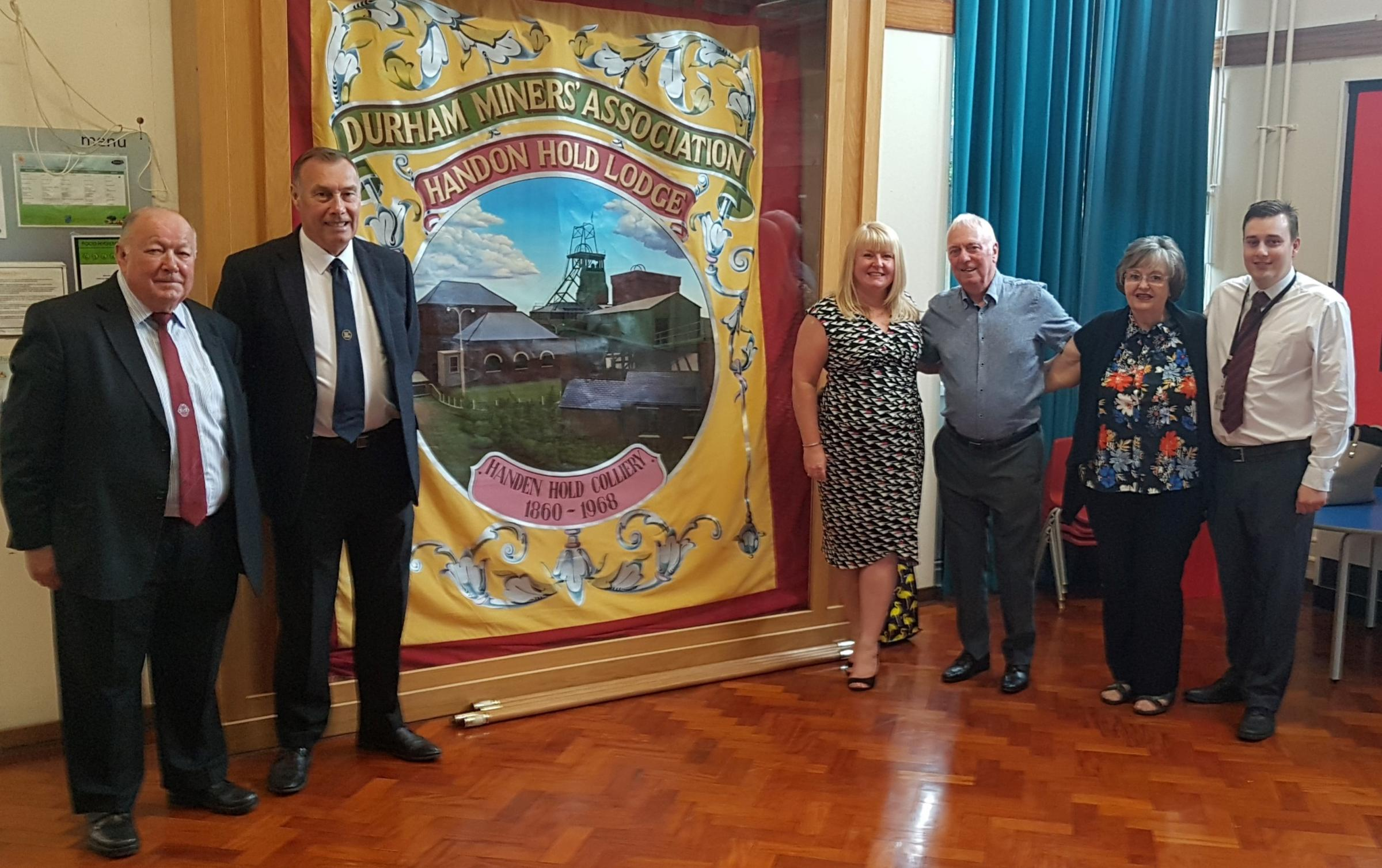 BANNER: Pictured, from left, are Lawrence Claughan, Joe Whitworth, Durham Councillor Alison Batey, Bill Barrett, Jean Ainsworth and Durham County Councillor Danny Wood.
