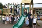 PLAY: Staff and pupils of Carnagill Primary School, Catterick Garrison with the new play equipment.  Picture: Richard Doughty Photography
