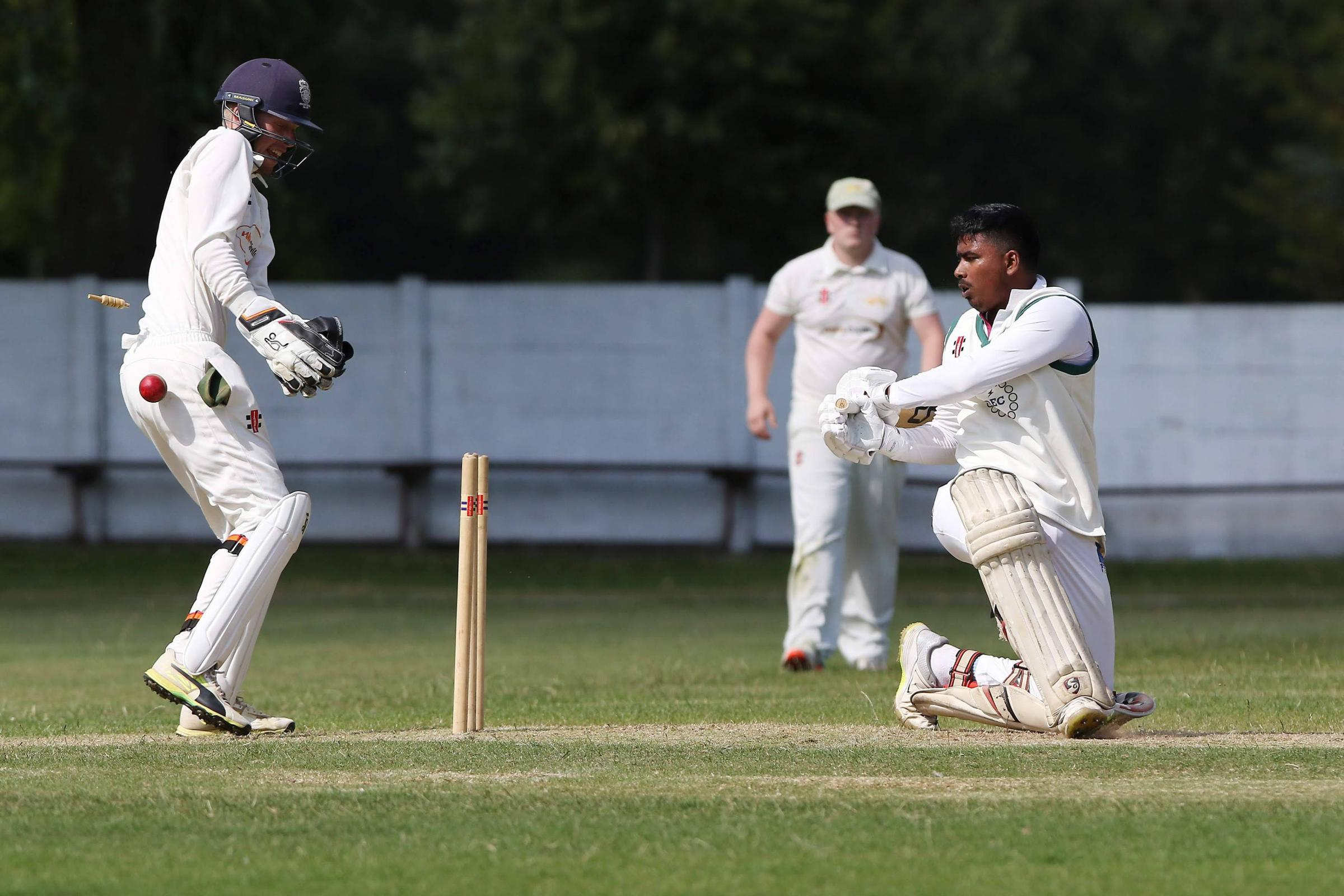 Tharindu Rathnayake is Bowled By Daniel Chillingworth during the NYSD Premier Division match between Thornaby and Stokesley