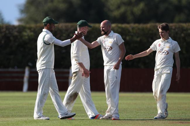Stokesley clebrate after Matthew Smith claimed the wicket of Hartlepool's Ollie Mole during the NYSD Premier Division match