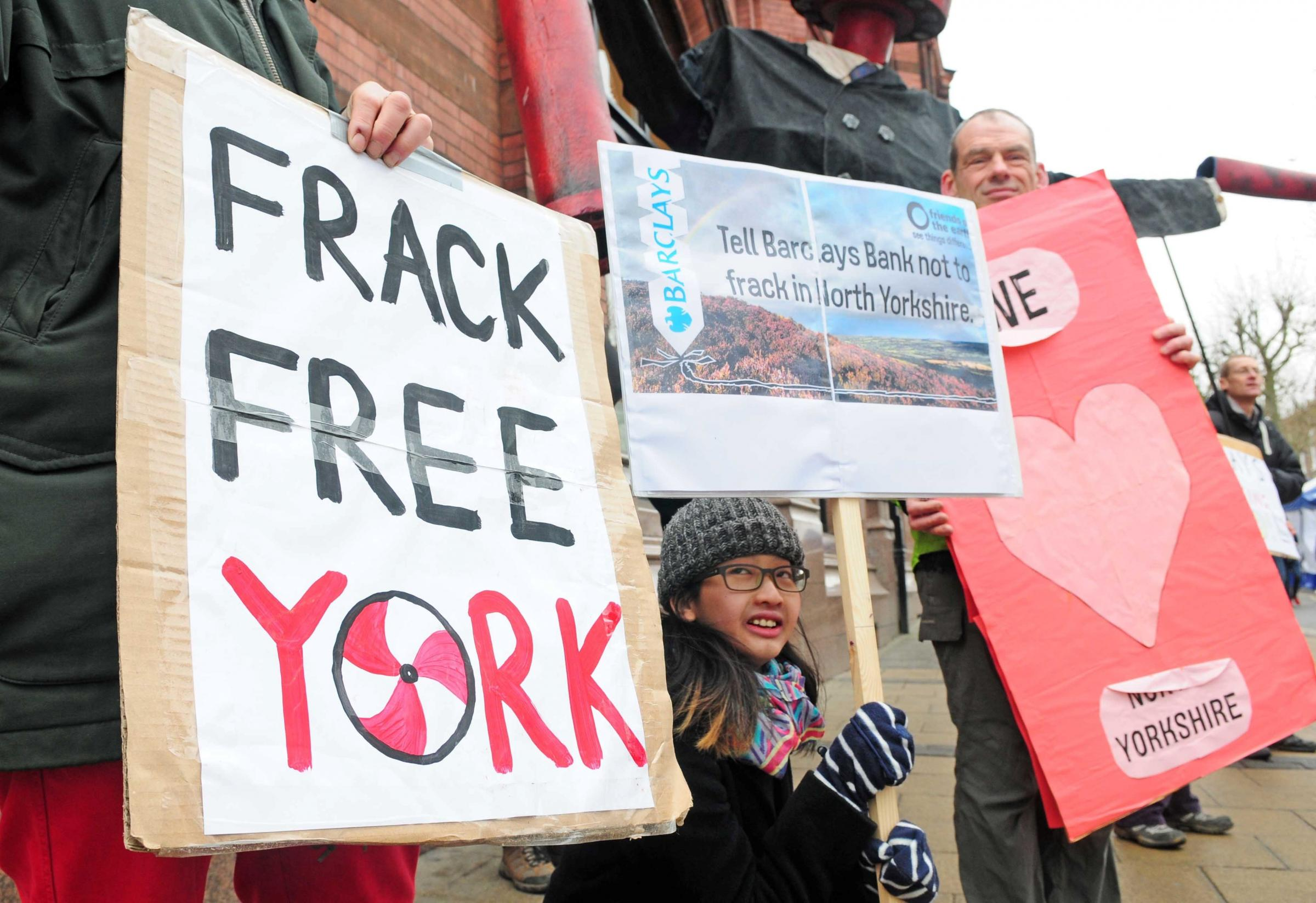 Anit fracking protesters pictured outside Barclays bank in York City centre...pic: Anthony Chappel-Ross.