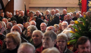 STANDING ROOM ONLY: Some of the 350 people who filled the church for the service