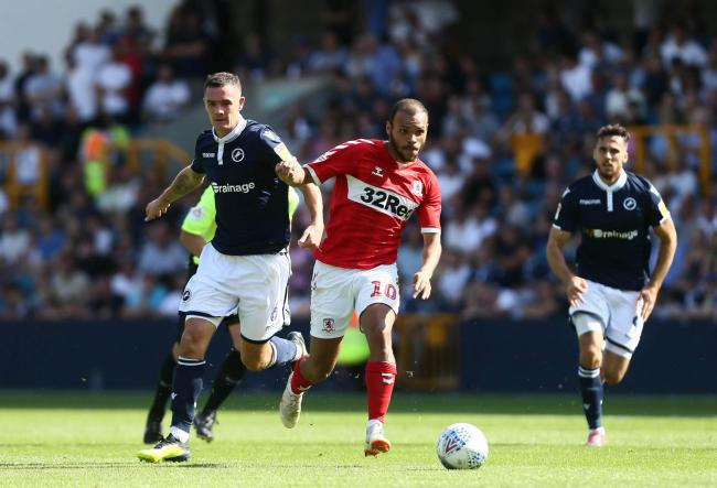 Martin Braithwaite of Middlesbrough and Shaun Williams of Millwall . Picture: Leila Coker | MI News & Sport Ltd