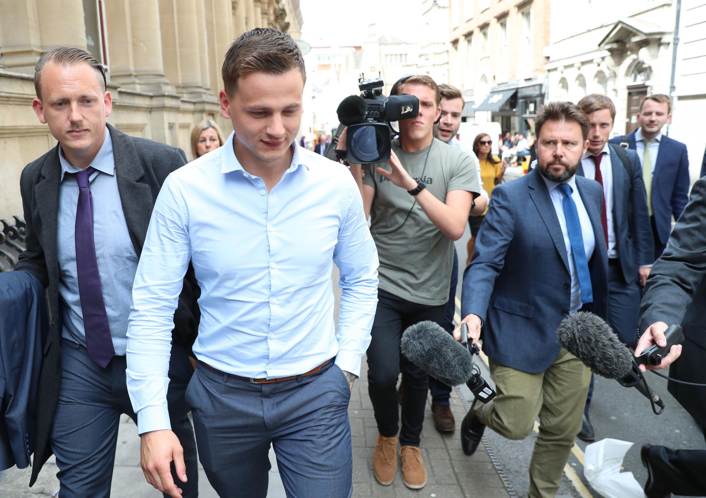 Ryan Hale leaving Bristol Crown Court where he was formally found not guilty as the trial continues against Ryan Ali and England cricketer Ben Stokes following an altercation in the Clifton Triangle area of Bristol. Picture: Andrew Matthews/PA Wire
