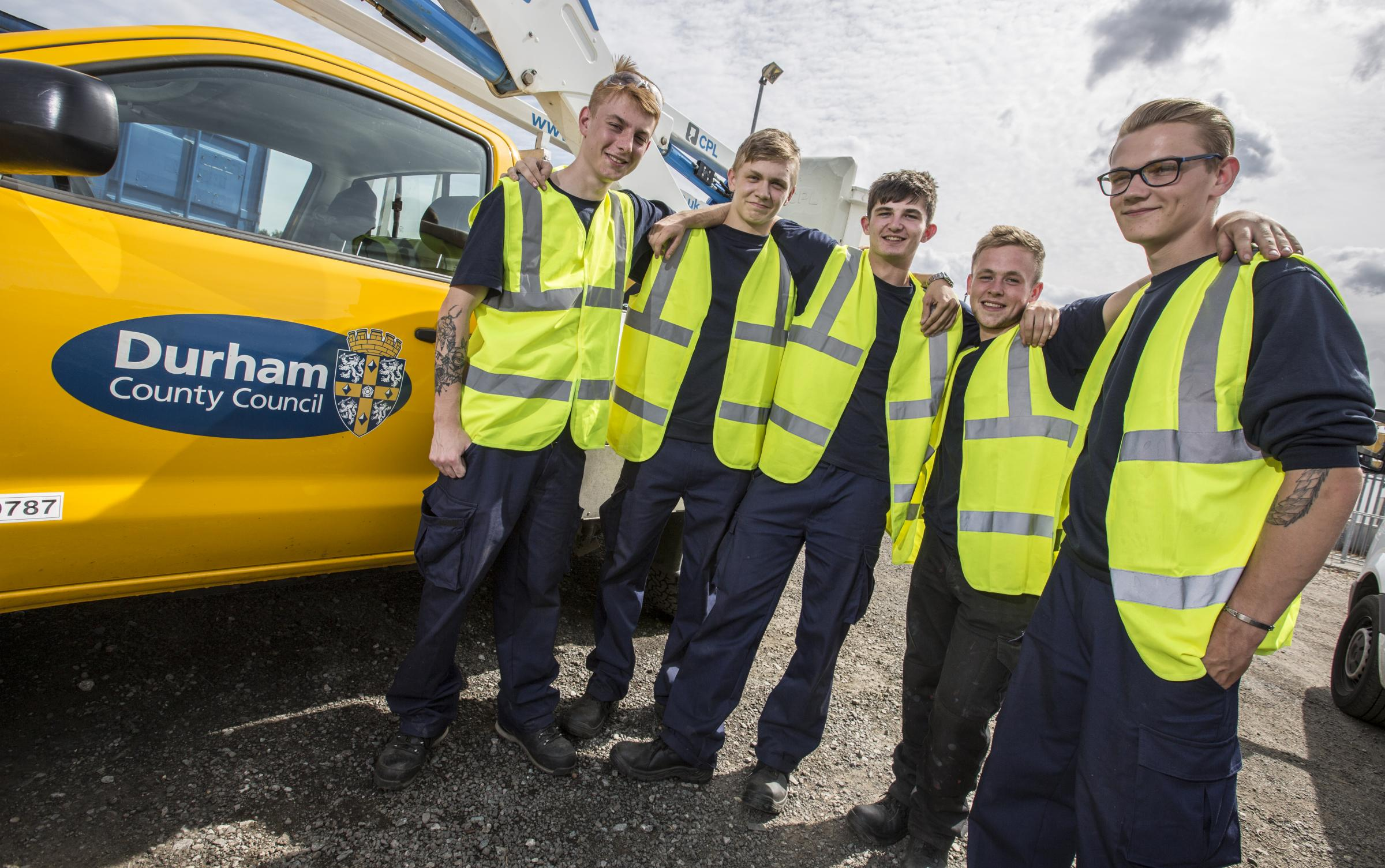 JOBS: The five young men who have secured jobs thannks to a Durham County Council and Groundwork North East scheme