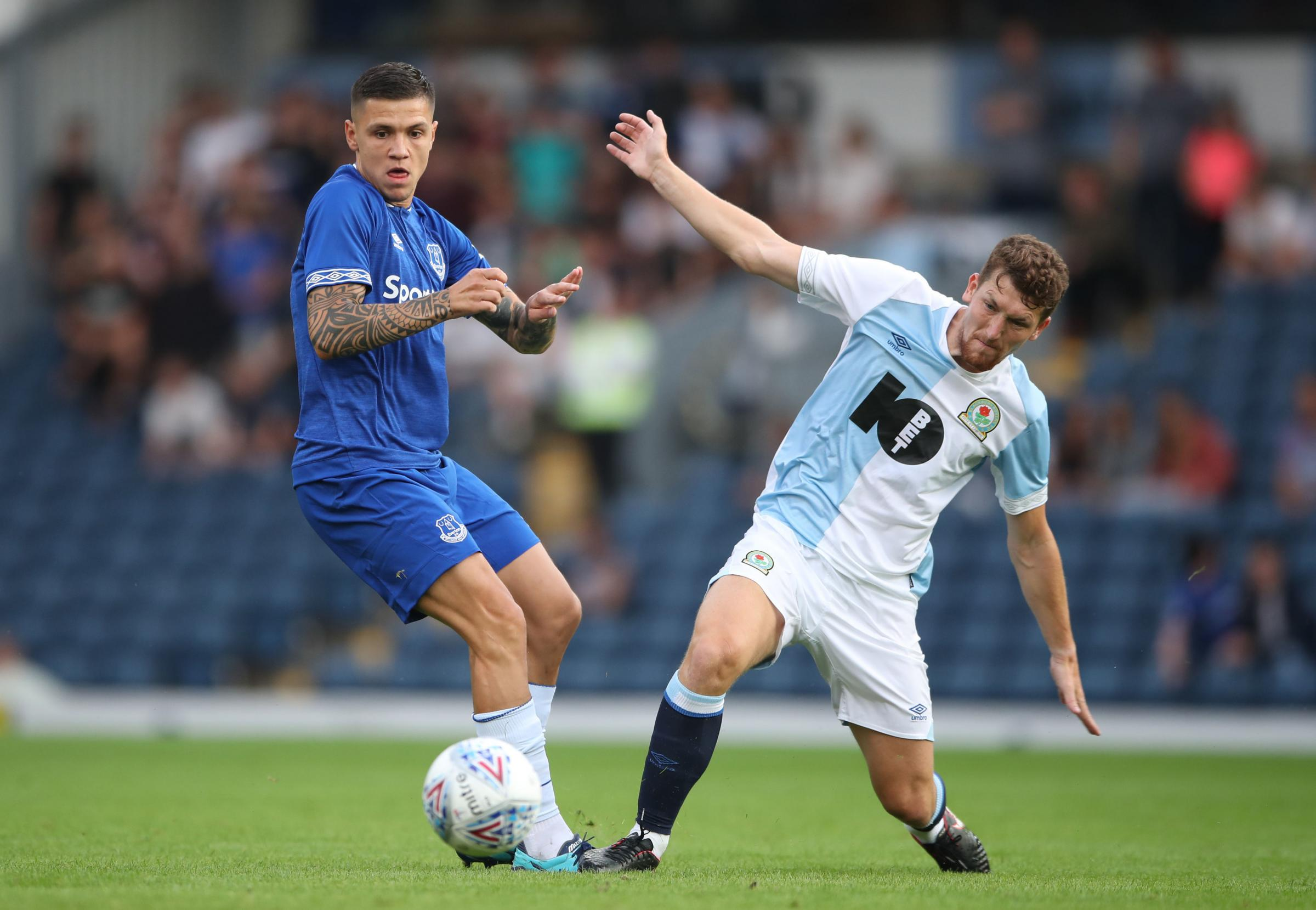 Everton's Muhamed Besic battles with Blackburn Rovers' Richie Smallwood during a pre-season friendly match at Ewood Park, Blackburn. PRESS ASSOCIATION Photo. Picture date: Thursday July 26, 2018. Photo credit should read: Nick Potts/PA Wire. EDITO