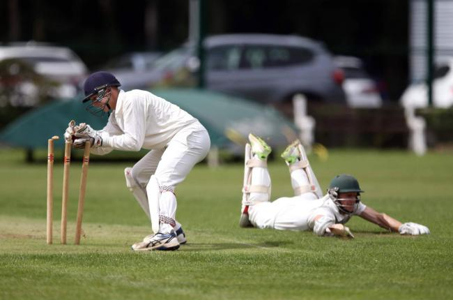 An unsuccessful run out attempt by Hartlepool wicket keeper James Piper as Jeremy Boyle of Thornaby just manages to make his ground
