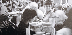 WORKING WIVES: Marilyn Johnson, centre, feeding striking miners and their families in the Easington Colliery cafe in 1984