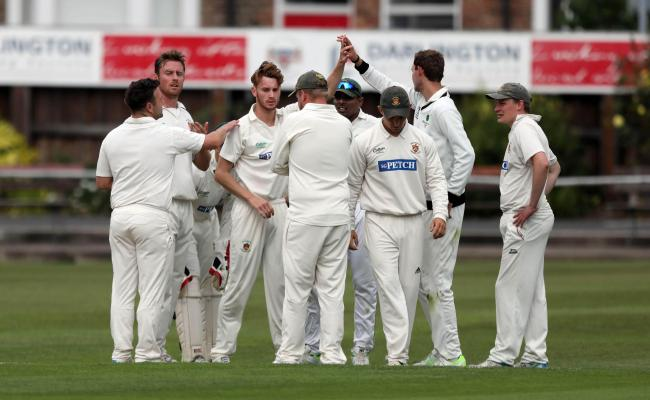Darlington's Rajeewa Weerasinghe takes the catch of Hartlepool's James Lowe off the bowling of Peter Greenwell