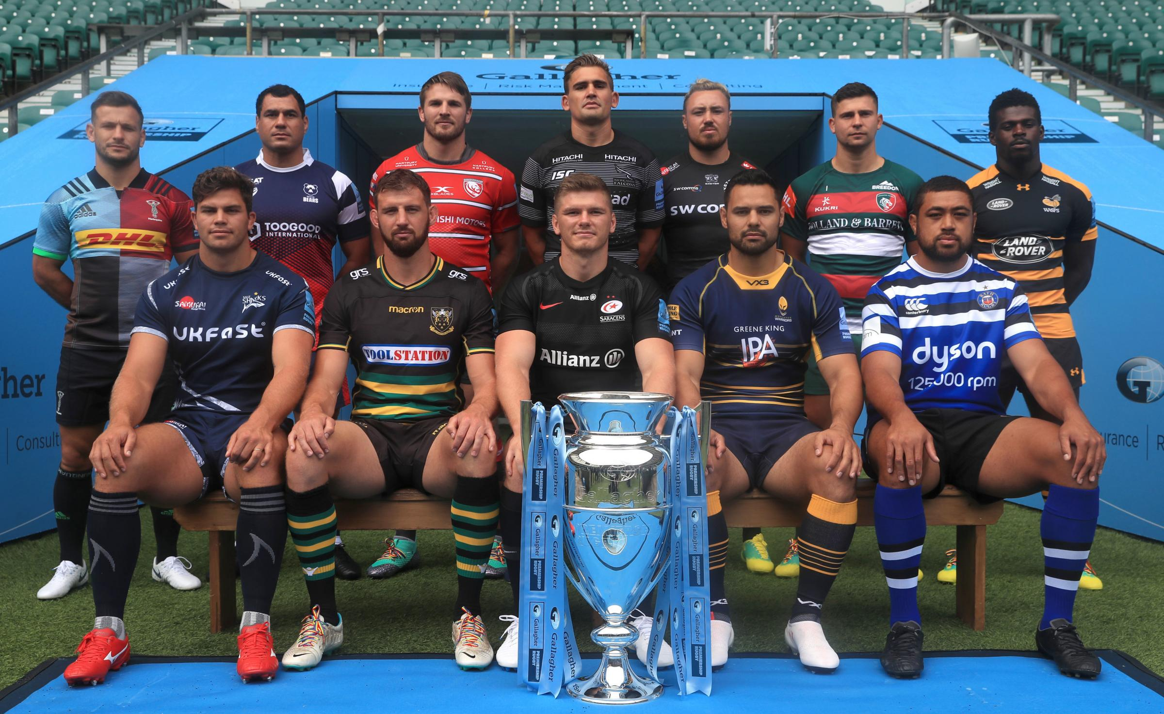 (back row left-right) Harlequins' Danny Care, Bristol Bears' George Smith, Gloucester Rugby's Jaco Kriele, Newcastle Falcon's Toby Flood, Exeter Chief's Jack Nowell, Leicester Tigers' Ben Youngs Wasps' Christian Wade (front row