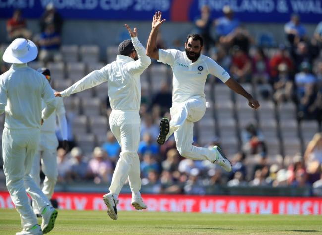 India's Mohammed Shami celebrates taking the wicket of England's Stuart Broad during day four of the fourth test at the AGEAS Bowl, Southampton. PRESS ASSOCIATION Photo. Picture date: Sunday September 2, 2018. See PA story CRICKET England. Photo c