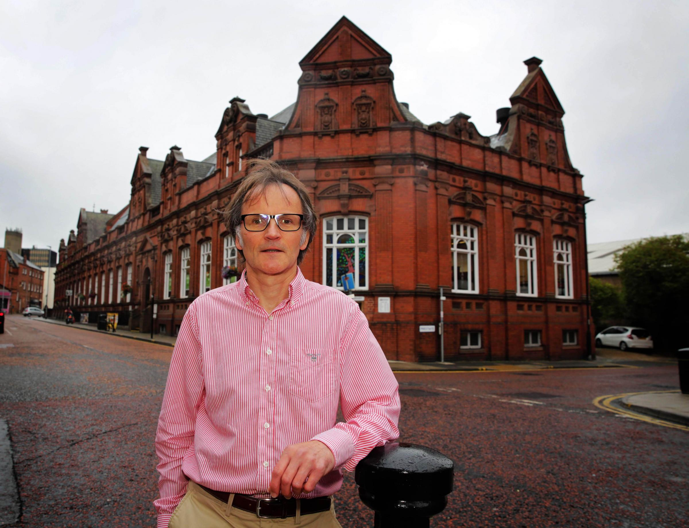 Cllr Stephen Harker outside Darlington Library Picture: SARAH CALDECOTT.