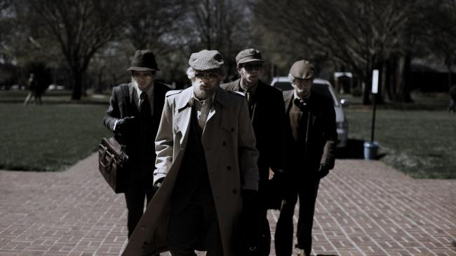 Undated film still handout from American Animals. Pictured: Jared Abrahamson as Eric Borsuk, Evan Peters as Warren Lipka, Blake Jenner as Chas Allen and Barry Keoghan as Spencer Reinhard. See PA Feature SHOWBIZ Film Reviews. Picture credit